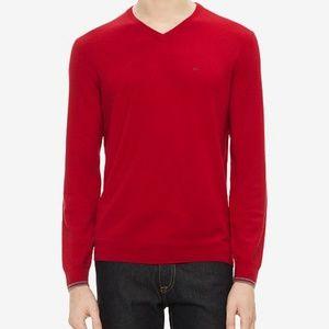 Calvin Klein Red Extra Fine Merino Wool  Sweater